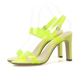 Neon Buckle Chunky Heel Slingback Strap Open Toe Casual Sandals