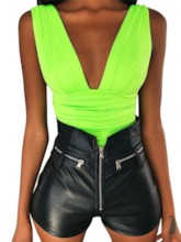 Plain Shorts Pleated Sexy Slim Women's Romper(Without The Shorts)