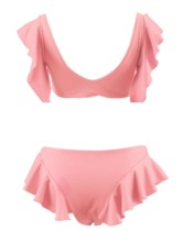 Plain Tankini Set Falbala Sexy Women's Bikini Set