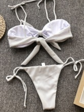 Bikini Set Sexy Lace-Up Plain Women's Swimwear