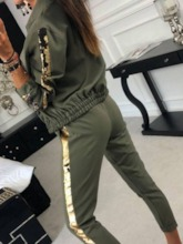 Coat Sequins Casual Plain Pencil Pants Women's Two Piece Sets