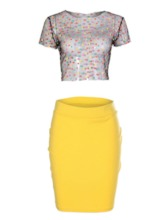 Plain See-Through Shirt Party/Cocktail Pullover Women's Two Piece Sets