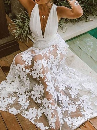 Three-Quarter Sleeve See-Through High Waist Womens Lace Dress Three-Quarter Sleeve See-Through High Waist Women's Lace Dress