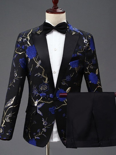 Floral Animal Print Slim Fit Wedding Dinner Suit One Button Blazer Mens Dress Suit Floral Animal Print Slim Fit Wedding Dinner Suit One Button Blazer Men's Dress Suit