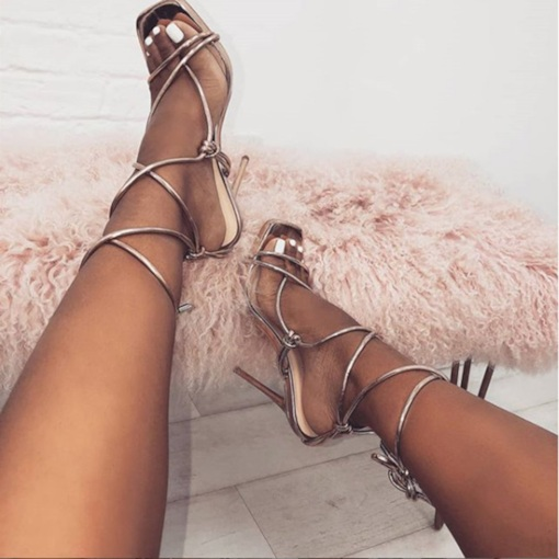 Open Toe Lace-Up Stiletto Heel Sexy Women's Sandals