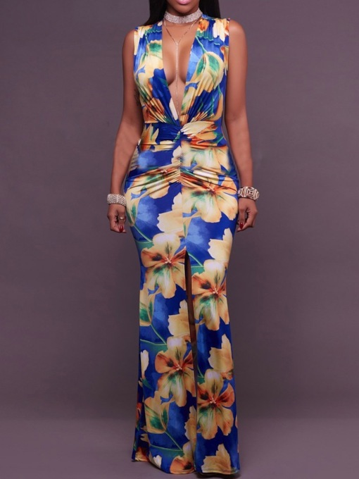 V-Neck Sleeveless Floral Print Summer Women's Maxi Dress