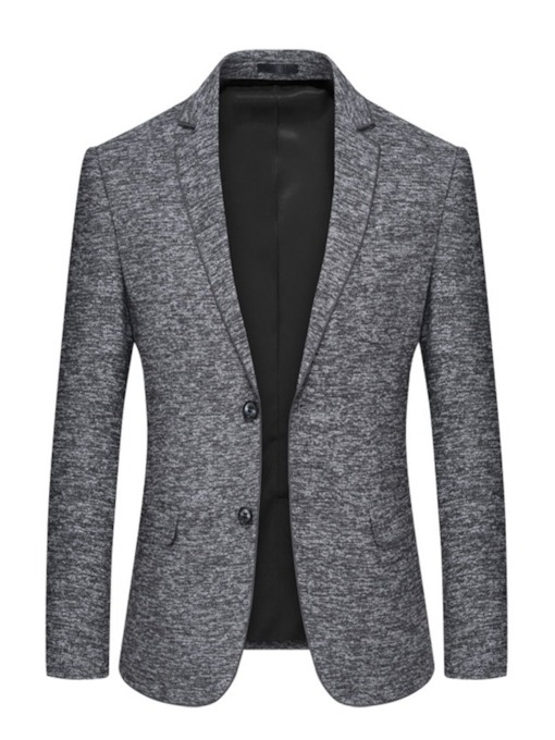 Slim One Button Plain Notched Lapel Men's Blazer