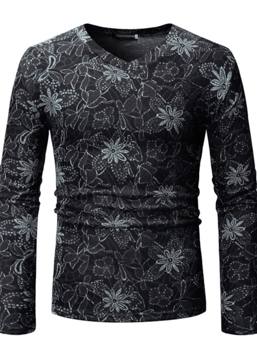 V-Neck Floral Slim Men's T-shirt