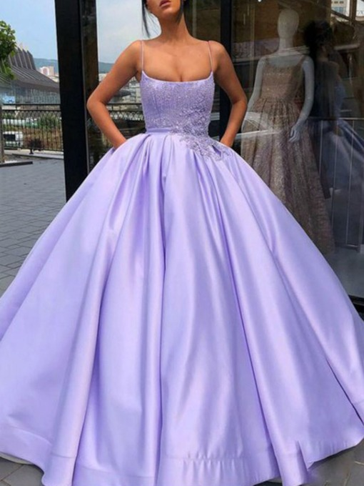 Spaghetti Straps Appliques Ball Gown Sleeveless Prom Dress 2019