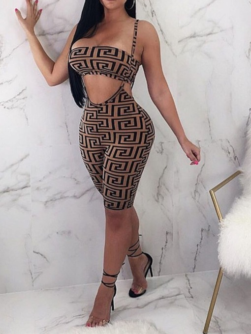 Print Geometric Knee Length Party/Cocktail High Waist Women's Jumpsuit
