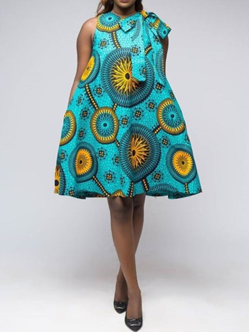 Print Sleeveless Geometric A-Line Women's Day Dress