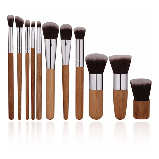 11 Pcs Bamboo handle Makeup Brushes Set Foundation Brush Tool