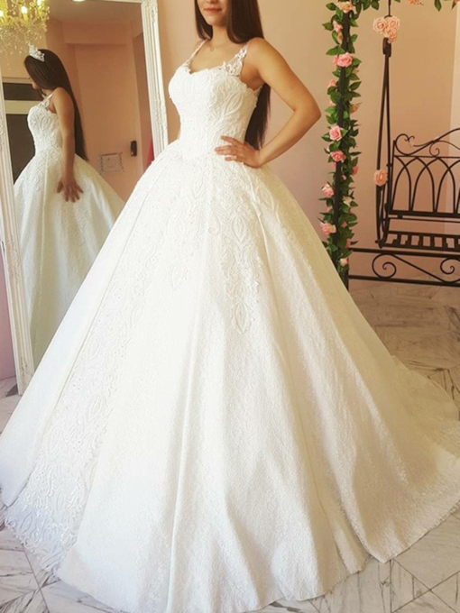 Chapel Train Appliques Straps Lace Wedding Dress
