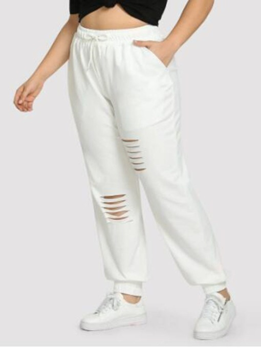 Hole Loose Plain Full Length Women's Casual Pants