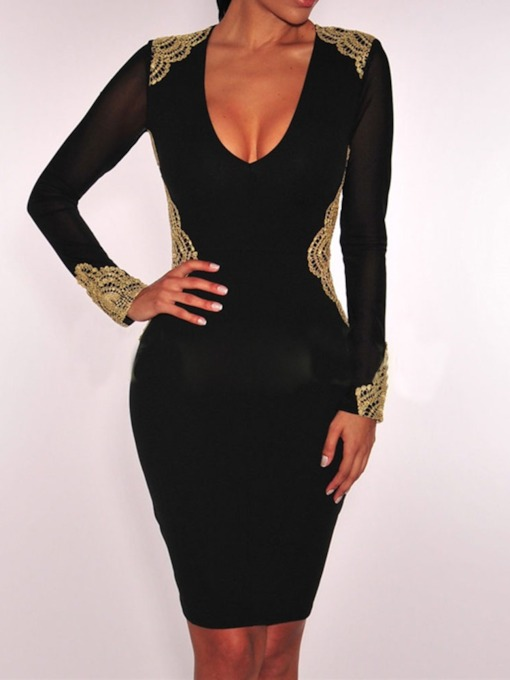 Long Sleeve Lace V-Neck Color Block Women's Bodycon Dress