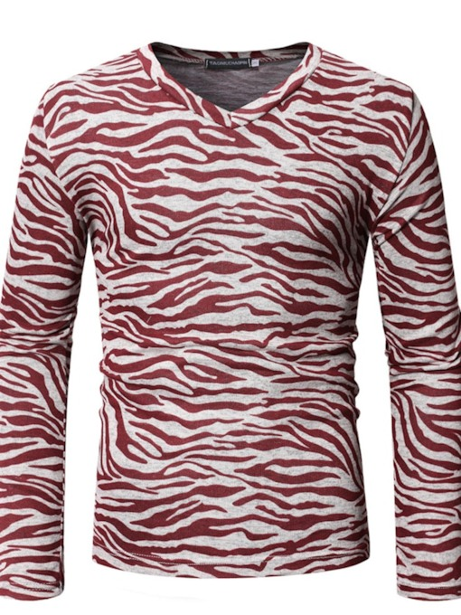 Zebra Stripe Casual V-Neck Long Sleeve Men's T-shirt