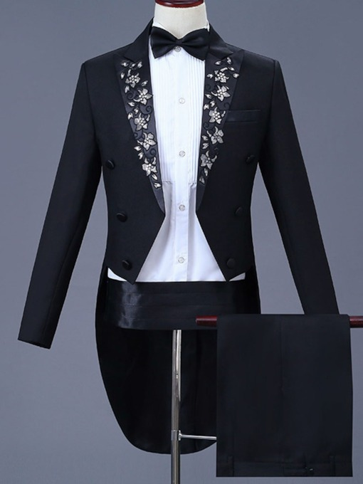 Pants Embroidery Floral Men's Dress Suit