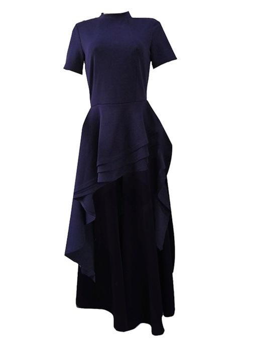 Plain Stand Collar Asymmetric Long Women's T-Shirt