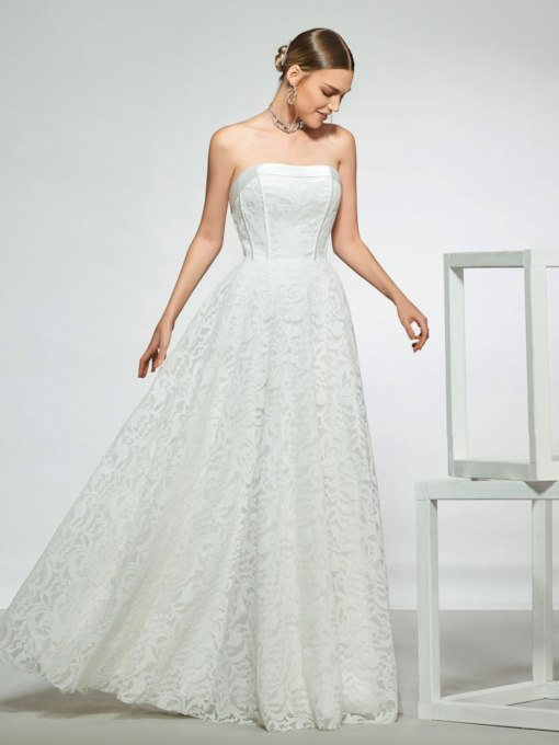 Strapless A-Line Lace Beach Wedding Dress 2019