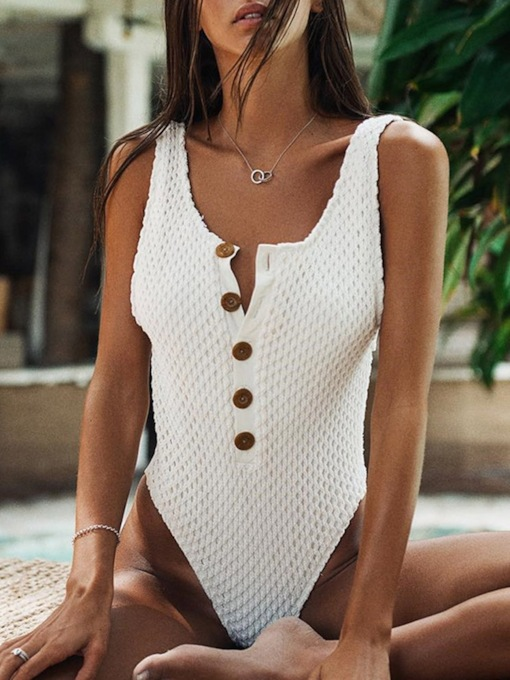 Button Plain Beach Look One Piece Women's Swimwear