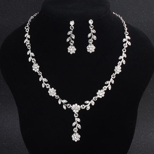 Floral European Gemmed Wedding Jewelry Sets