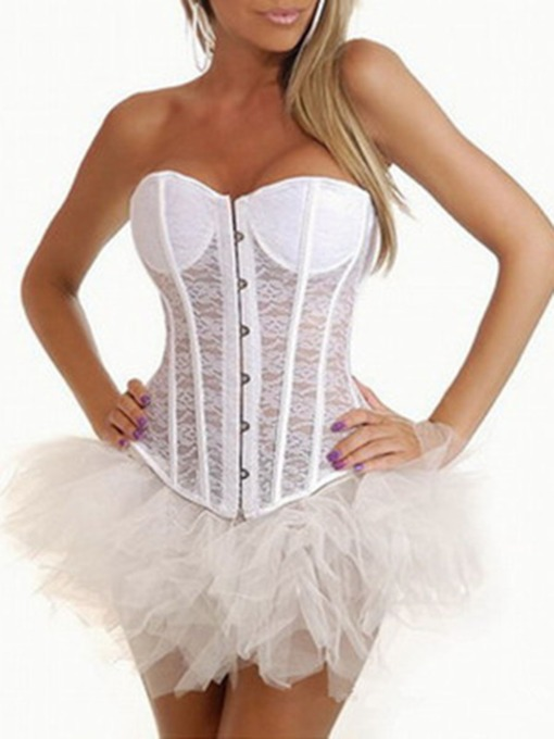 Plain Sleeveless Lace Sexy Women's Corset