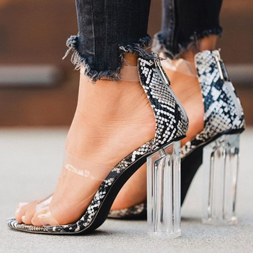 Open Toe Chunky Heel Zipper Heel Covering Serpentine Sandals
