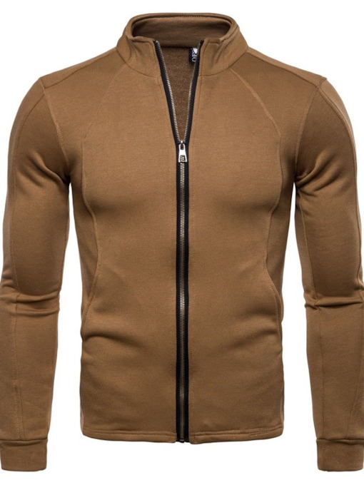 Plain Cardigan Stand Collar Men's Hoodie