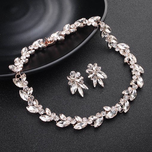 Water Drop Necklace Diamante Wedding Jewelry Sets
