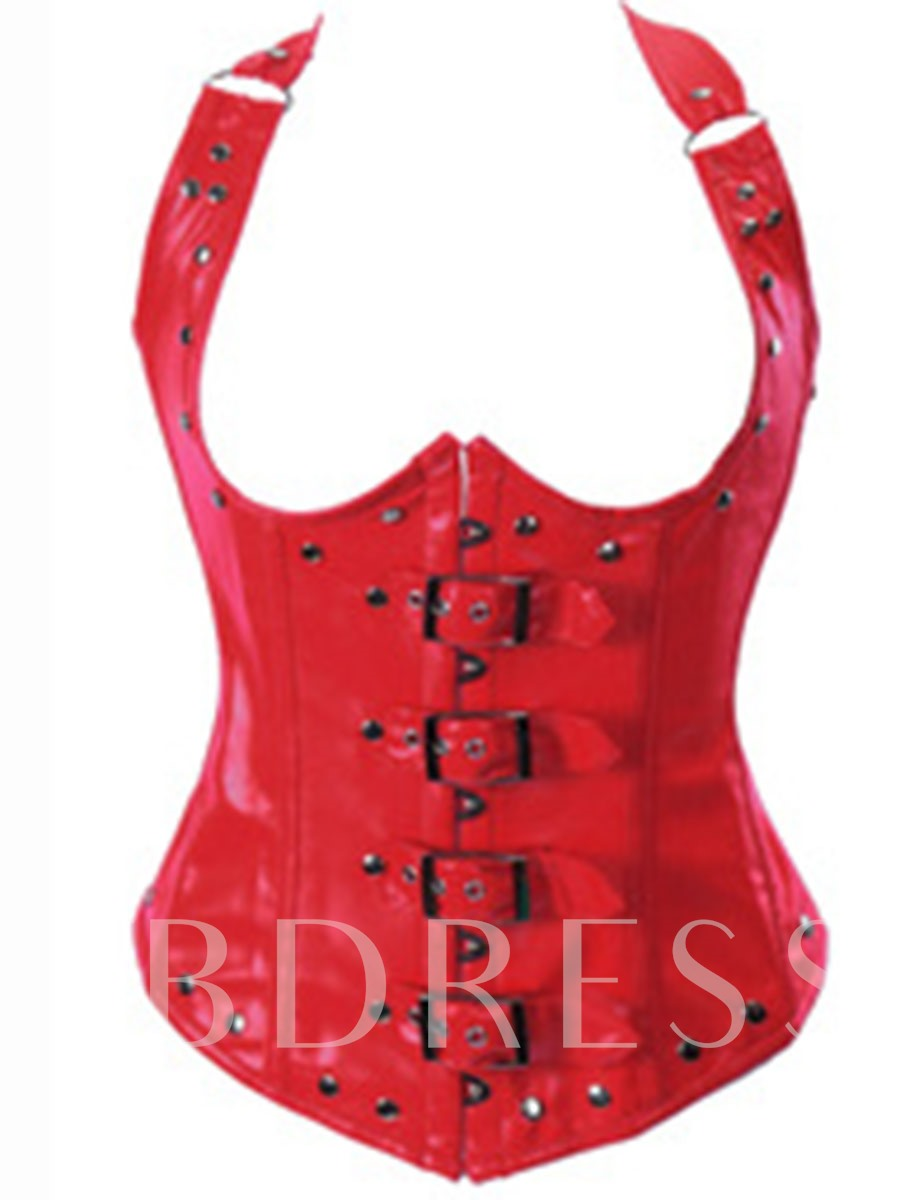 Sleeveless Plain Halter Rivet Women's Corset