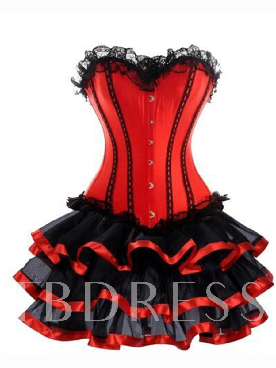 Falbala Sleeveless Color Block Ruffles Women's Corset