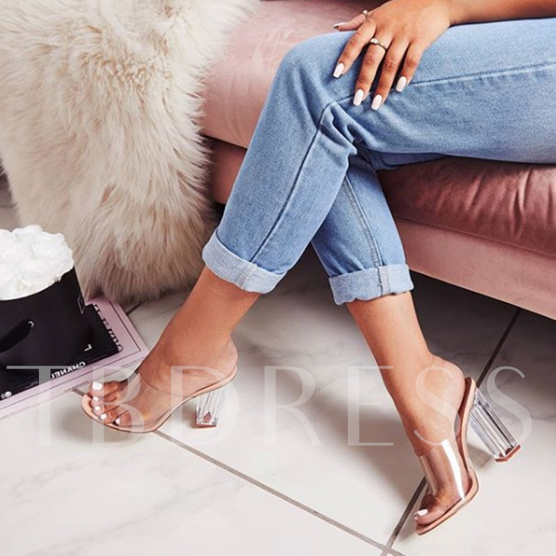Slip-On Chunky Heel See Through Casual Women's Slippers