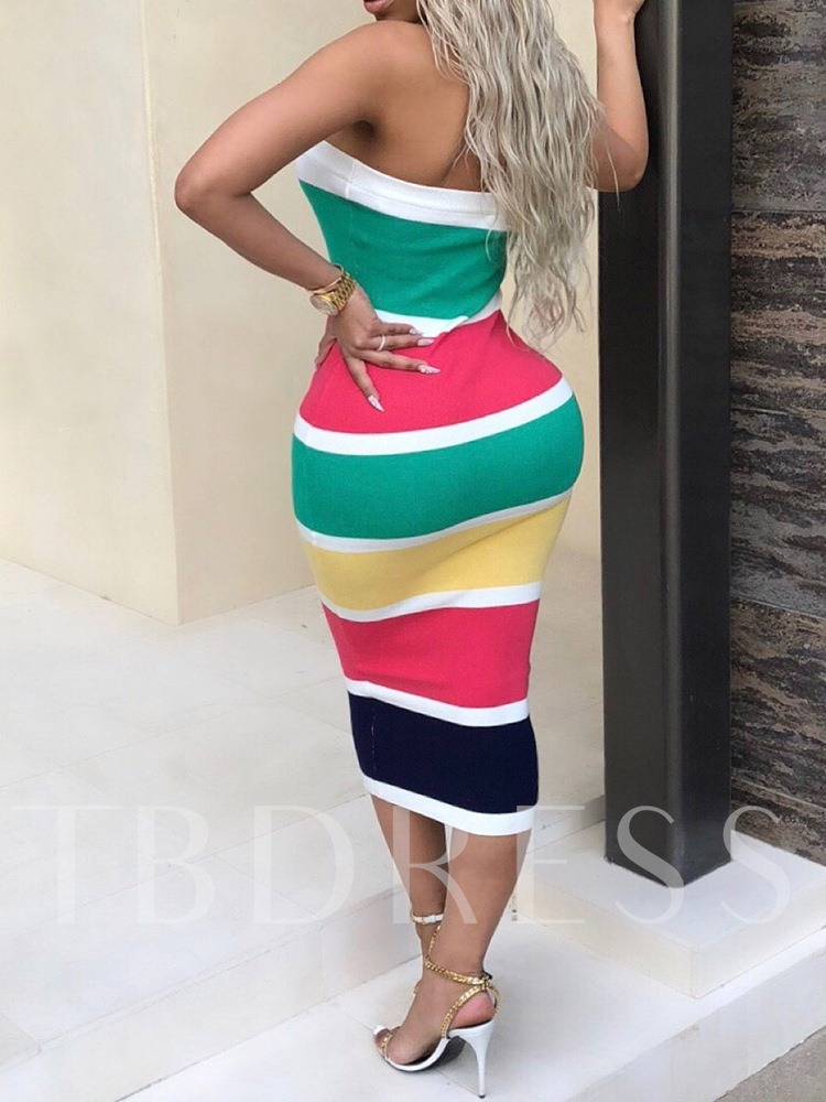Color Block Print Long Sleeve Women's Bodycon Dress
