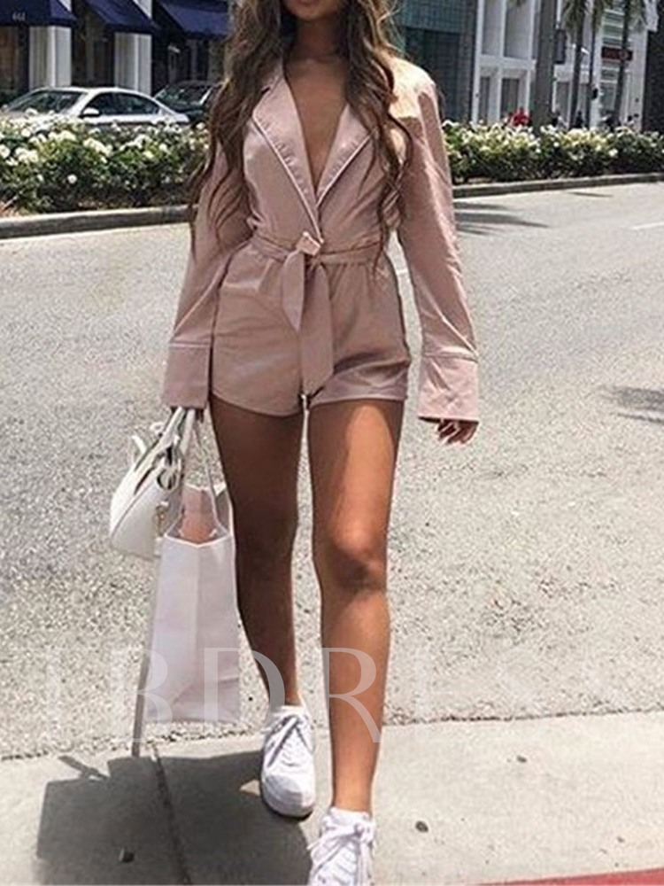 Plain Lace-Up Slim Women's Long Sleeve Dress