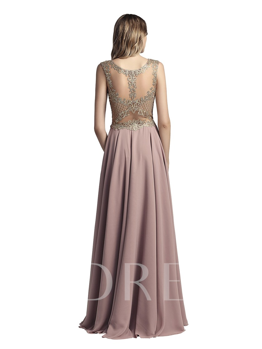Sleeveless A-Line Scoop Floor-Length Prom Dress 2019