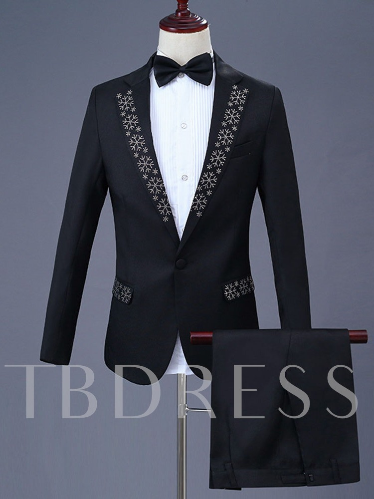 Diamond One Button Blazer Men's Dress Suit