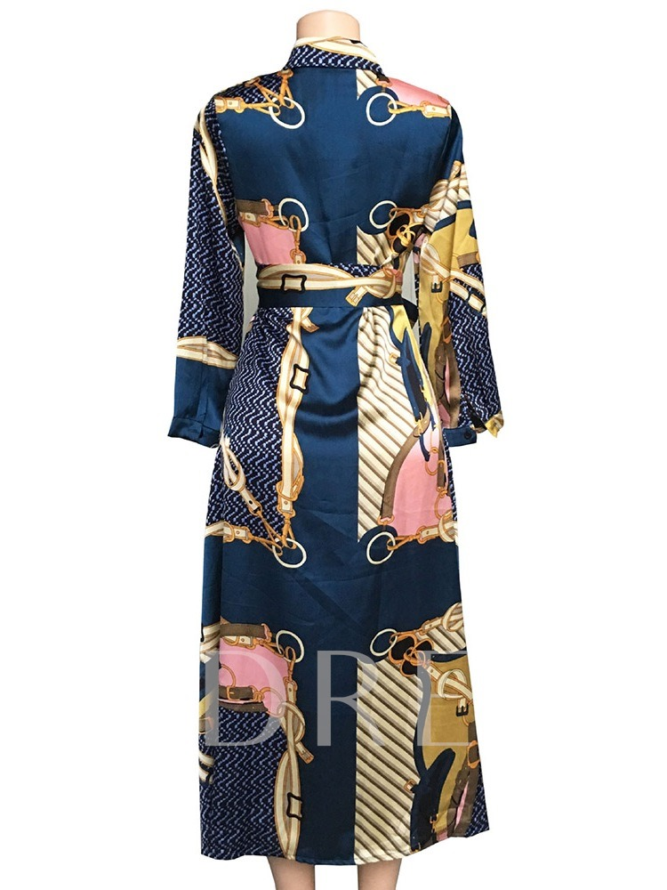 Floral Print Lace-Up Pullover Women's Long Sleeve Dress