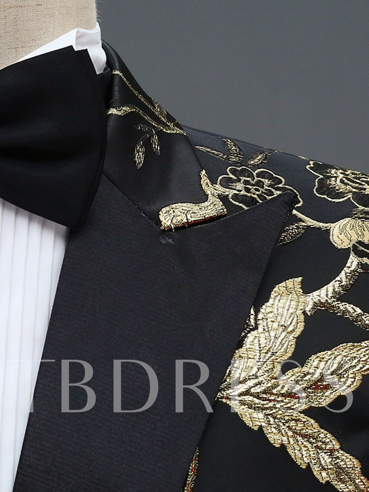 Floral Animal Print Slim Fit Wedding Dinner Suit One Button Blazer Men's Dress Suit