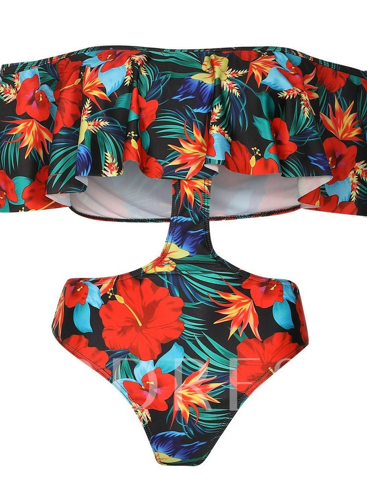 Print Floral Beach Look One Piece Women's Monokini