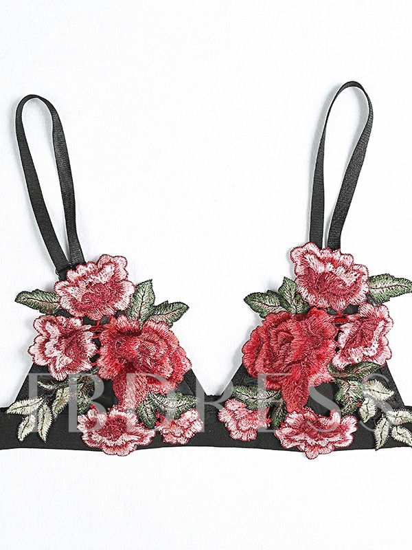 Rose Dmbroidery Sexy Bra