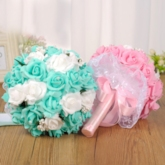 Lace Pearls Rose Wedding Bouquet