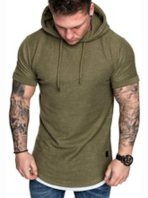 Hooded Lace-Up Plain Casual Short Sleeve Men's T-shirt