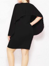 Plus Size V-Neck Long Sleeve Asymmetrical Plain Women's Bodycon Dress