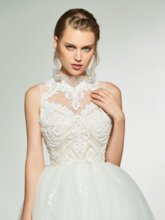 High Neck Beading Appliques Beach Wedding Dress 2019