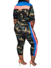Print Ankle Length Pants Camouflage Casual Zipper Women's Three Piece Sets