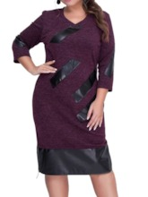Plus Size Patchwork Three-Quarter Sleeve Summer Women's Dress