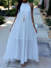 African Fashion Pleated Sleeveless Pleated Halter Women's Maxi Dress