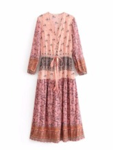 Long Sleeve Print Floral Color Block Women's Maxi Dress