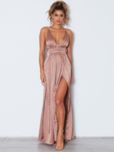 Split-Front Spaghetti Straps Floor-Length Sweep Train Evening Dress 2019