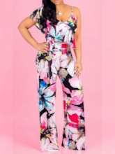 African Fashion Casual Full Length Floral Print Wide Legs Women's Jumpsuit
